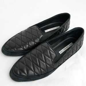 & Other Stories Quilted Black Leather Loafers 9.5